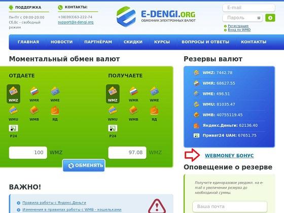 e-dengi.org - автоматический обмен валют WebMoney