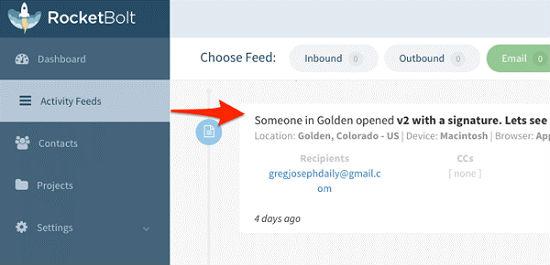 RocketBolt позволяет отслеживать открытые электронные письма